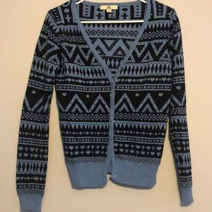 Blue patterned cardigan